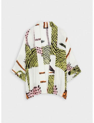 Kimono Ouvert À Imprimé Animal