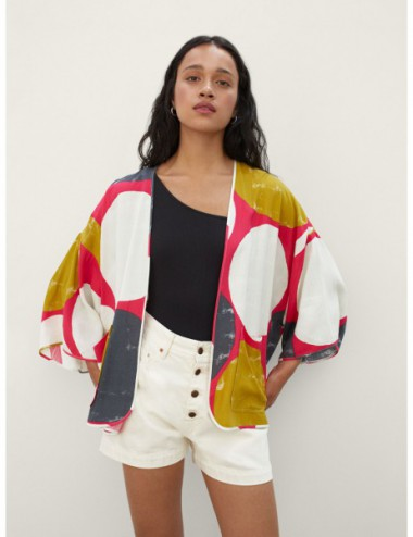 Kimono Ouvert Imprimé Avec...