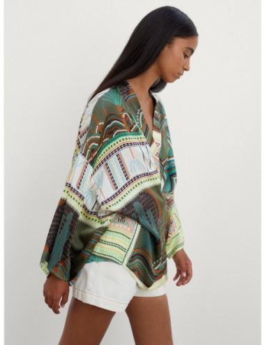 Kimono En Satin Imprimé